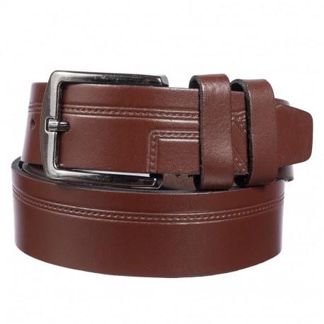 Ремень кожаный  Y.S.K. классика 3,5 см 2085-2 коричневый