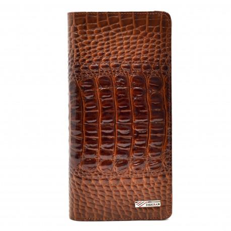 Кошелек женский кожа Desisan 321-587 рыжий кроко лак