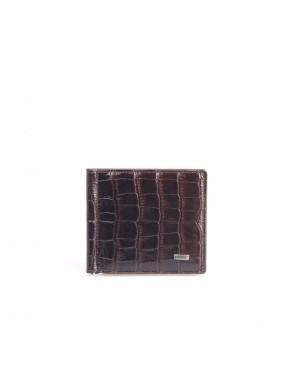 Зажим кожа GRASS 534-30 коричневый кроко