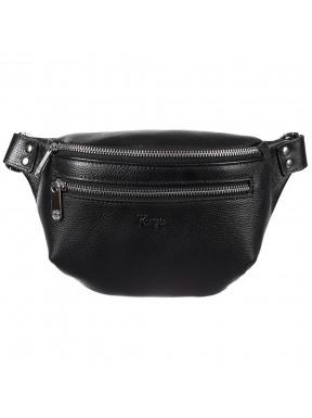 Поясная сумка кожаная KARYA 0203-45 черный флотар