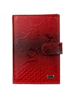 Обложка авто+паспорт кожа Desisan 102-500 красный узор