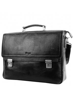 Портфель кожаный KARYA 0146-076 черный лазер