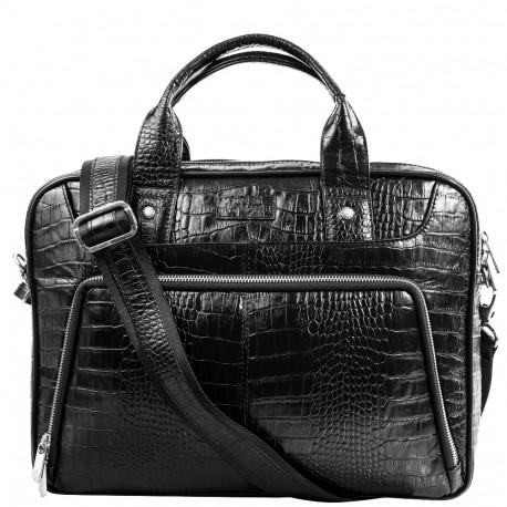 Портфель кожа KARYA 0655-53 черный кроко
