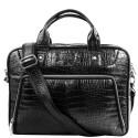 Портфель кожаный KARYA 0655-53 черный кроко