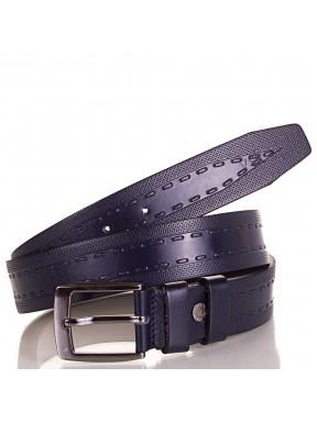 Ремень кожаный  Y.S.K. классика 3,5 см 3044 синий