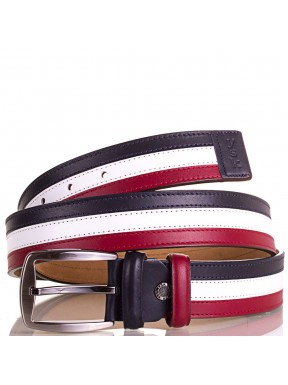 Ремень кожаный Y.S.K. 4001-9 бело-красный