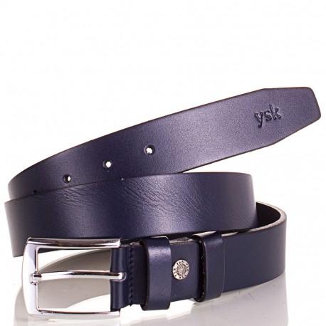Ремень кожаный  Y.S.K. джинсы 4см 4-2007-9  синий
