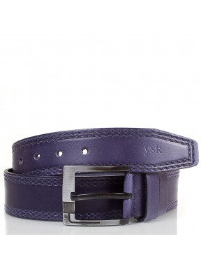 Ремень кожаный  Y.S.K. джинсы 5 см 3000-9  синий