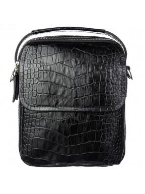 Барсетка мягкая кожаная BOND 1247-356 черный кроко
