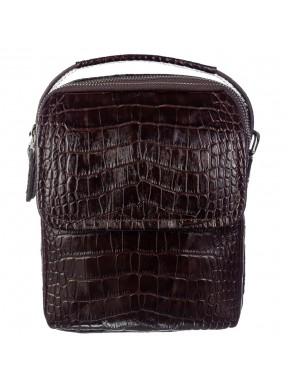 Барсетка мягкая кожаная BOND 1247-355 коричневый кроко
