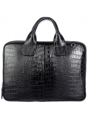 Портфель мягкий кожаный BOND 1320-356 черный кроко