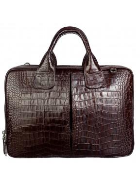 Портфель мягкий кожаный BOND 1320-355 коричневый кроко