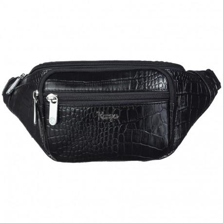 Поясная сумка кожа KARYA 0201-53 черный кроко