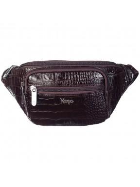 Поясная сумка кожаная KARYA 0201-57 коричневый кроко