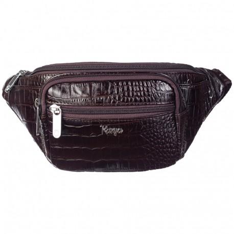 Поясная сумка кожа KARYA 0201-57 коричневый кроко