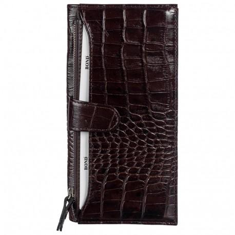 Портмоне-купюрник кожа BOND 577-355 коричневый кроко