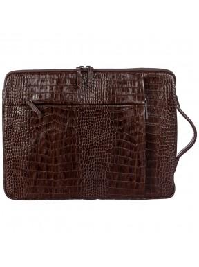 Портфель мягкий кожа BOND 1418-355 коричневый кроко