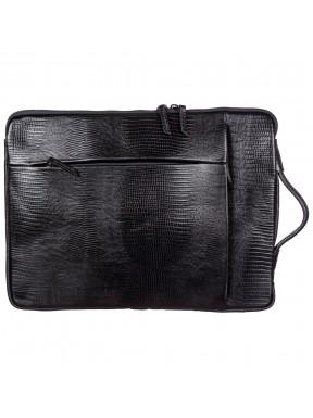Портфель мягкий кожаный BOND 1418-902 черный лазер