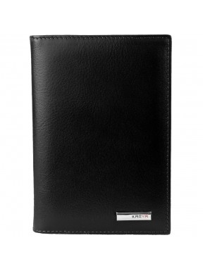 Обложка для авто+паспорт кожа KARYA 433-1 черный гладкий