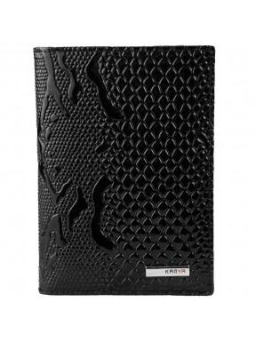 Обложка для авто+паспорт кожа KARYA 433-013 черный узор