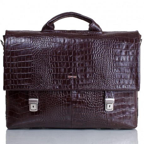 Портфель кожа Desisan 1315-19 коричневый кроко