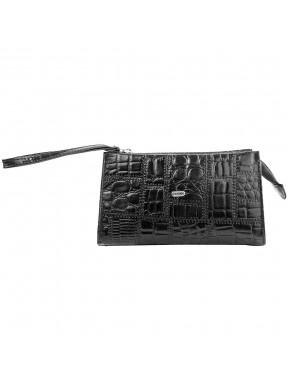 Косметичка кожа Desisan 2-1011 черный крупный кроко