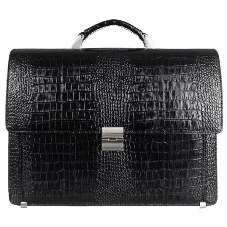Портфель кожа Desisan 319-11 черный кроко