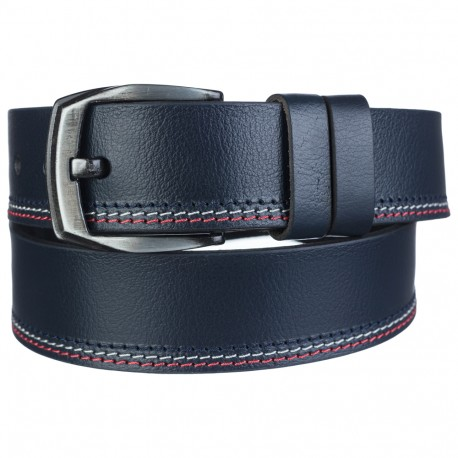 Ремень кожаный  Y.S.K. джинсы 5 см 727-9  синий