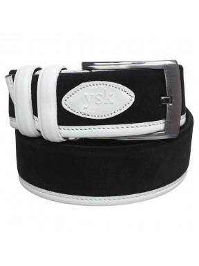 Ремень замшевый Y.S.K 4045 черно-белый