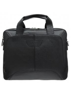 Портфель мягкий кожаный BOND 1404-281 черный флотар
