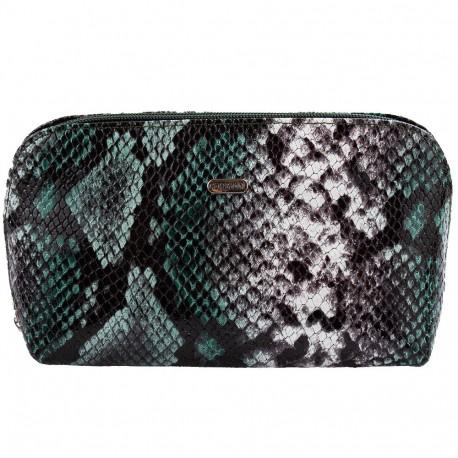 Косметичка кожаная CANPEL 205-728 серо-зеленая змея