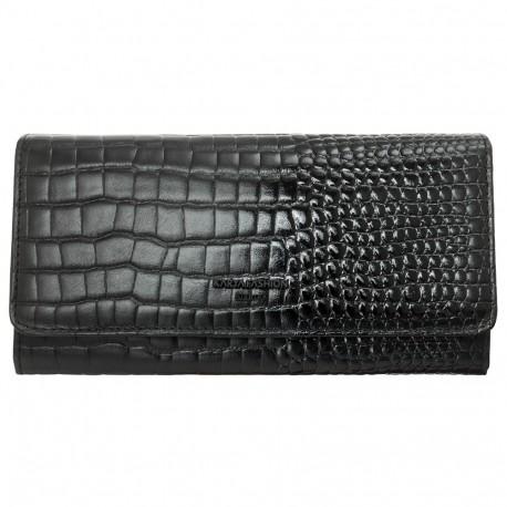 Кошелек женский кожаный KARYA 1094-502 черный кроко лак