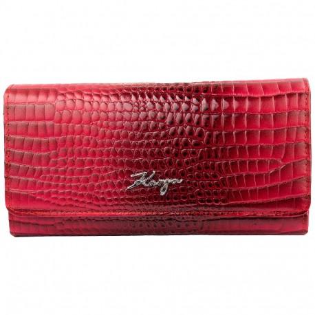 Кошелек женский кожаный KARYA 1094-507 красный кроко лак