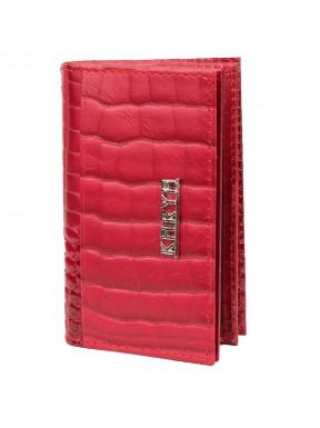 Обложка для авто+кредитница кожа KARYA 056-507 красный кроко лак