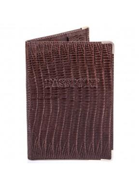 Обложка для паспорта кожаная Desisan-142 коричневый лазер