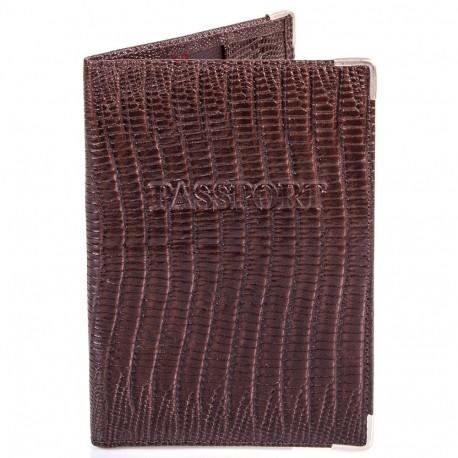 Обложка паспорт кожа Desisan-142 коричневый лазер