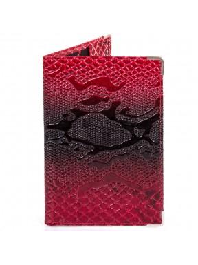 Обложка для паспорта кожаная Desisan-500 красный узор