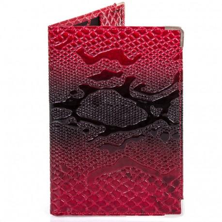 Обложка паспорт кожа Desisan-500 красный узор
