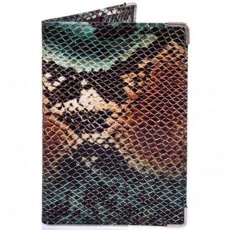 Обложка паспорт кожа Desisan-586 зеленая змея
