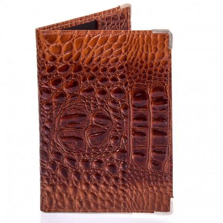 Обложка паспорт кожа Desisan-587 рыжий кроко лак