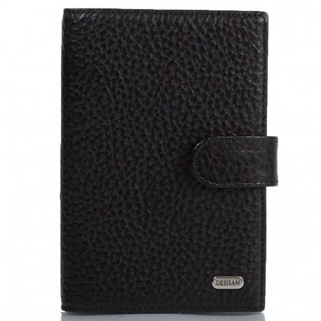 Обложка авто+паспорт  кожа Desisan 102-011 черный флотар
