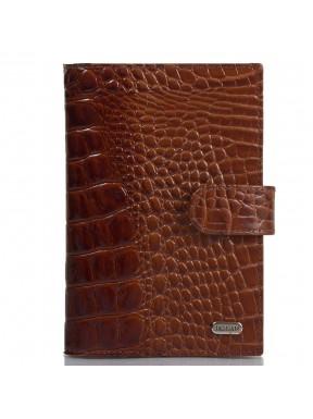 Обложка авто+паспорт  кожа Desisan 102-587 рыжий кроко лак
