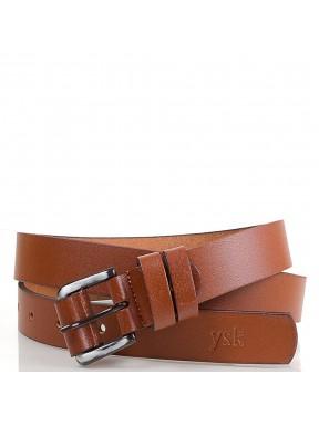 Ремень кожаный  Y.S.K. классика 2 см 240 -4 рыжий