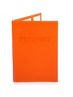 Обложка для паспорта кожаная 002-302 оранжевый флотар