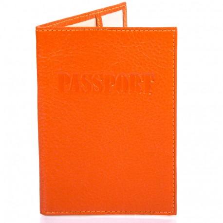 Обложка кожа паспорт лак 002-302 оранжевый флотар