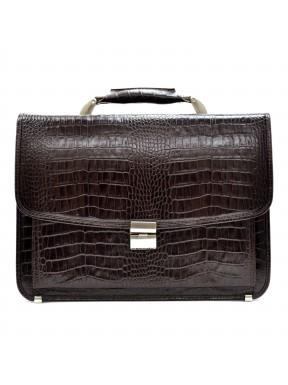 Портфель кожа Desisan  5011-19 коричневый кроко