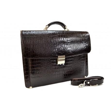 Портфель кожа Desisan 206-19 коричневый кроко