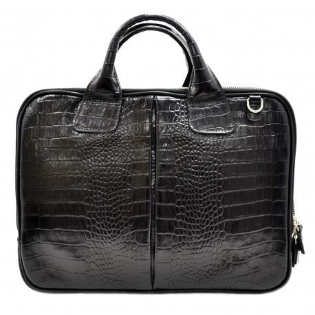 Портфель кожа Desisan 052-11 черный кроко