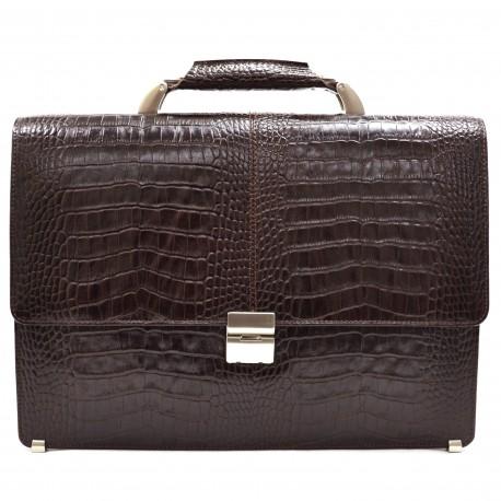 Портфель кожа Desisan 5006-19 коричневый кроко