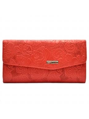 Кошелек женский кожаный Desisan 113-424 красные цветы